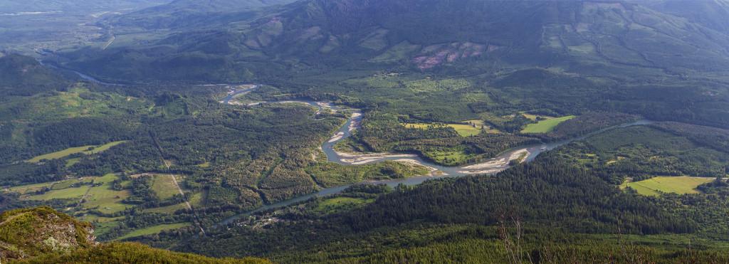 Confluence of the Skagit and Sauk Rivers from atop Sauk Mountain